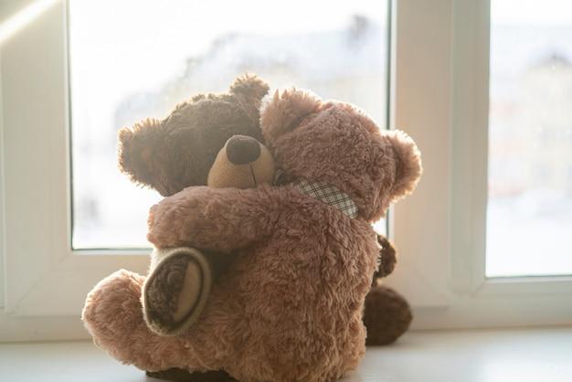 두 개의 테디베어가 서로 껴안고, 사랑의 감정 개념