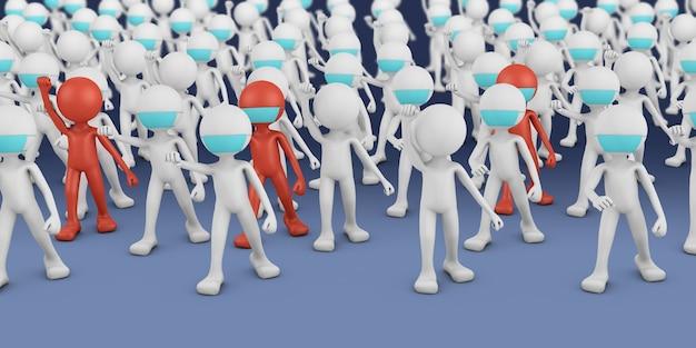 Толпа мужчин в белых и красных масках. 3d визуализация.