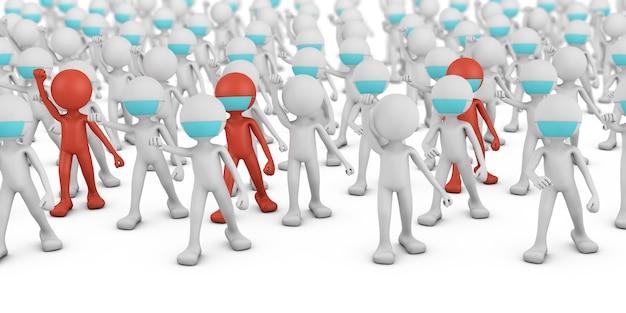 白と赤の仮面の男性の群衆