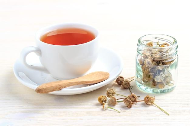 Чашка зеленого чая с ромашкой в банке и деревянной ложкой