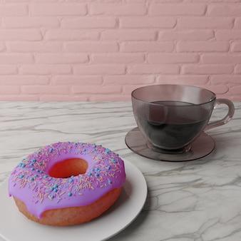 하얀 접시, 3d 렌더링에 도넛과 뜨거운 커피 한 잔