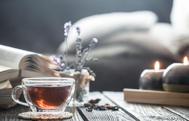 インテリアの本とお茶