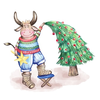 セーターを着たかわいい雄牛がクリスマスツリーを飾ります。水彩イラスト