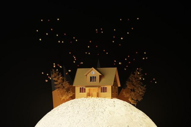 나무와 낮은 폴리 산과 작은 기하학적 모양으로 둘러싸인 달 빛나는 빛에 귀여운 노란 집