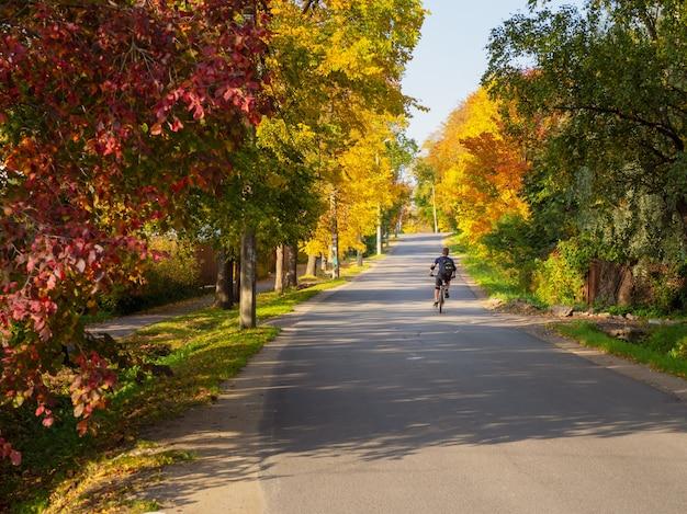 サイクリストは田舎の秋の道を一人で走ります。