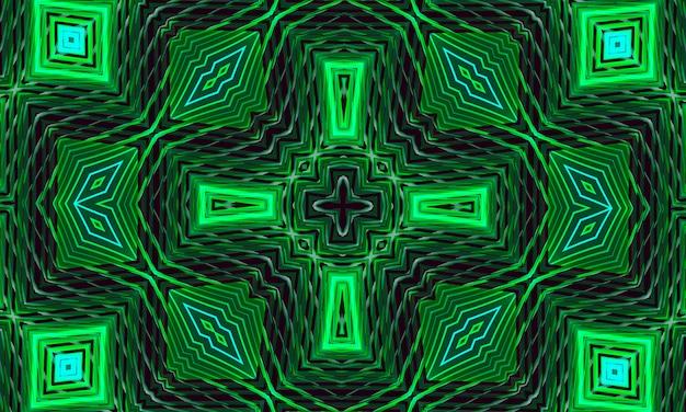 様式化された花の形をした輝く緑の飾りが付いた暗い背景。デザインのための万華鏡のパターン。
