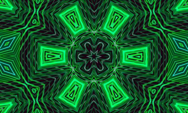 Темный фон со светящимся зеленым орнаментом в виде стилизованного цветка. калейдоскоп шаблон для дизайна.