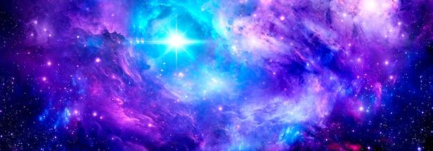 우주 배경으로 밝은 별과 별가루가 있는 깊은 우주 성운