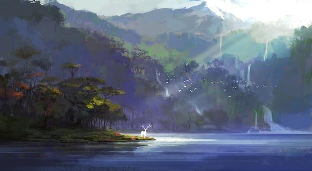 人里離れた湖のイラストのそばに鹿が立っています。