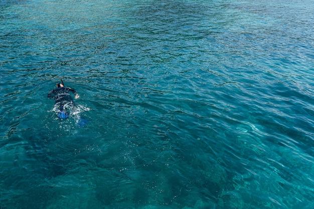 Дайвер в ластах гидрокостюма и маске с трубкой плавает по поверхности воды.