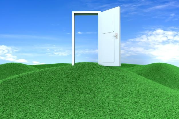 Дверь на зеленых холмах. 3d визуализации иллюстрации.