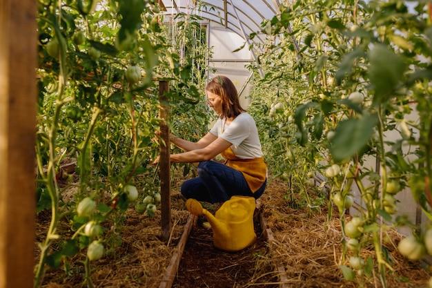 黄色のじょうろを持ったヨーロッパの女性が庭で野菜や果物に水をやっています