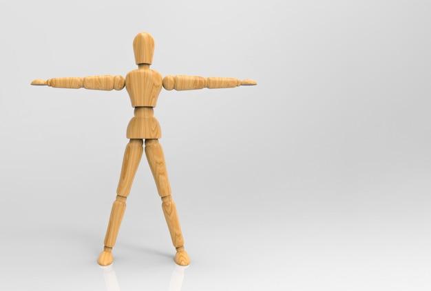 腕を伸ばしてクリッピングパスで木のダミーボディをポーズ