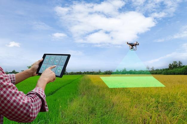 농부가 농산물 무인 항공기를 검사하기 위해 태블릿을 들고