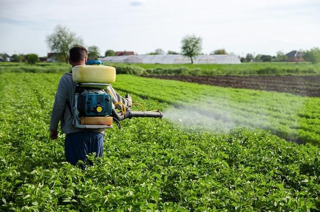 농부가 감자 농장 밭에 화학 물질을 뿌리다 수확량 증가