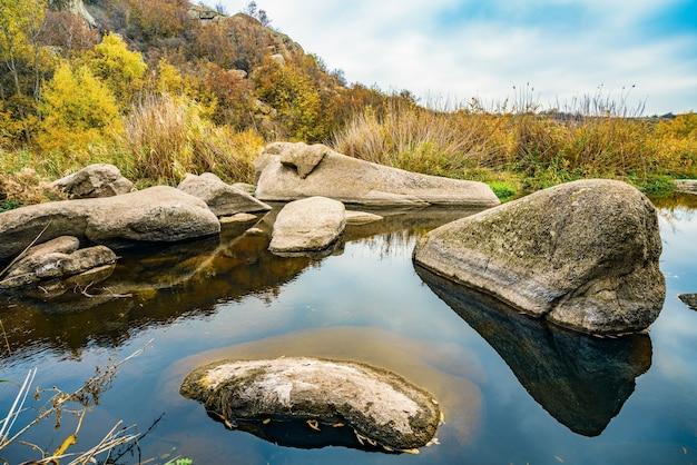 Быстрый и чистый ручей бежит среди гладких мокрых больших камней, окруженных высокими сухими глыбами, колышущимися на ветру в живописной украине.