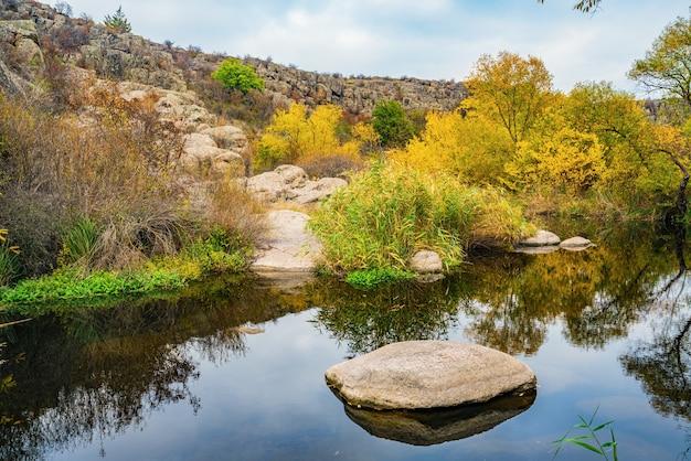 絵のように美しいウクライナで風に揺れる背の高い乾いた塊に囲まれた滑らかで濡れた大きな石の間を、速くてきれいな小川が流れています。