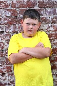 赤レンガの壁に黄色いtシャツを着た太った男の子が立っています。高品質の写真
