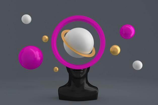믿음으로 채워진 원통형 프레임 모양의 구멍이 있는 여성 머리와 모조 행성 주위를 날아다니는 구체. 3d 일러스트레이션