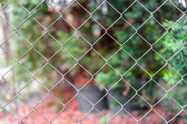 어린 투자와 화분을 볼 수 있는 정원의 가벼운 그물 울타리