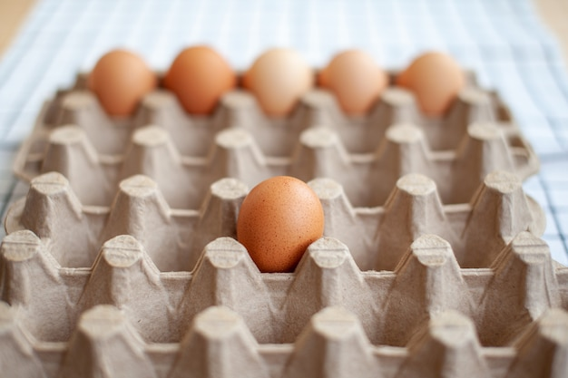 大きな段ボール袋の空のセルの中のいくつかの茶色の卵、貴重な栄養価の高い製品としての鶏の卵