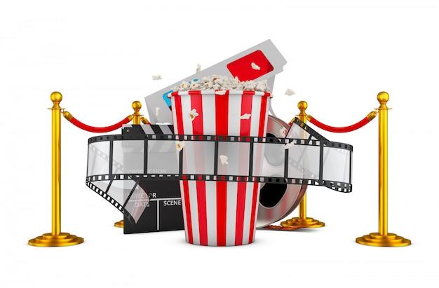 빨간 밧줄으로 기둥의 배경에 영화와 팝콘. 3d 렌더링.