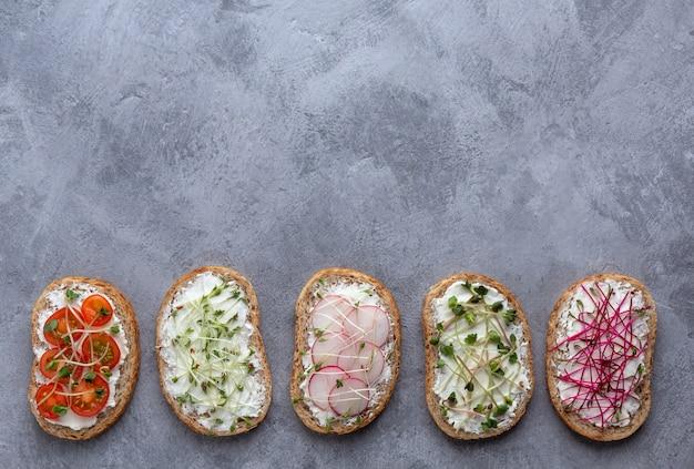 Плоская планировка с вегетарианскими бутербродами с творогом, овощами и микрогринами на сером фоне