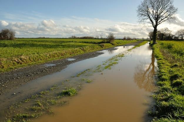 ブルターニュの浸水した田舎道