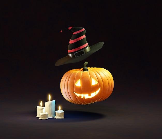 Летающая голова тыквы со шляпой и свечами