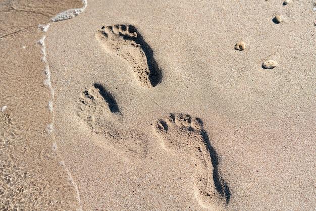 모래 해변에 인간의 발자국, 여행 휴가 개념