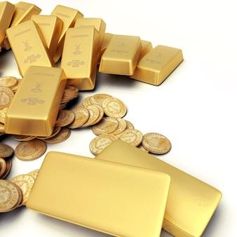 金のインゴットとコインの財産