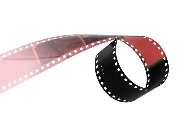 白い背景に分離されたカラー写真フィルムの断片