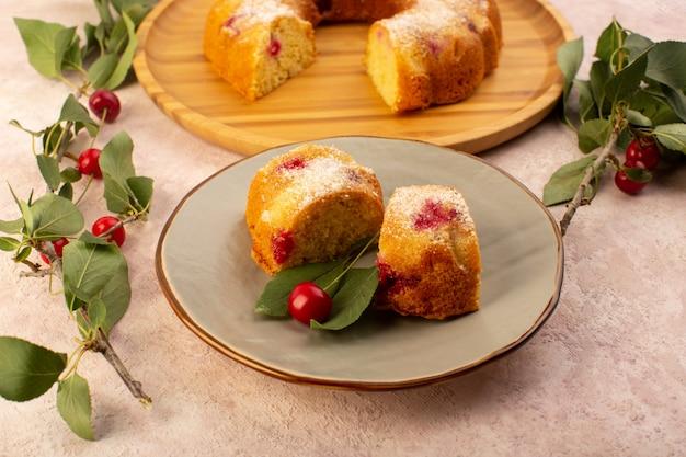 正面図はピンクの丸い灰色のプレートの中に赤いサクランボと砂糖の粉が入ったフルーツケーキのおいしいスライスを焼いた