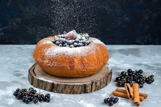 Фруктовый торт, вид спереди, восхитительный и круглый, со свежими синими ягодами, покрытыми сахарной пудрой на ярком бисквитном сладком сахаре