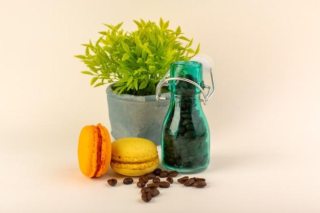 コーヒーフレンチマカロンとピンクのテーブルコーヒー色の花の種の緑の植物が付いている正面図瓶