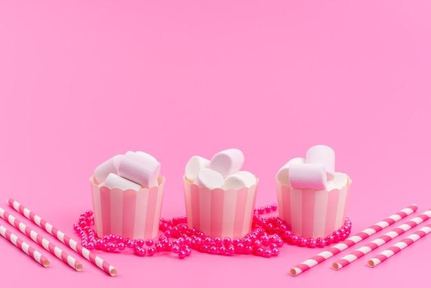 ピンクに分離されたピンクの紙パッケージ内の正面の白いマシュマロ