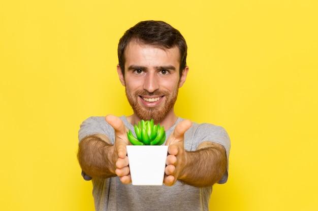 笑みを浮かべて、黄色の壁の男の色モデル感情服に小さな植物を保持している灰色のtシャツの正面の若い男性