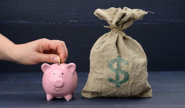 미국 달러 기호와 핑크 세라믹 돼지 저금통이 가득한 자루, 한 손으로 동전을 던집니다. 저축 및 축적, 보조금 수령의 개념. 장기 투자