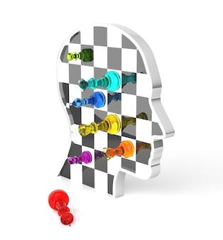 チェスのゲームが終了します。王はチェックメイトされています。三次元レンダリング