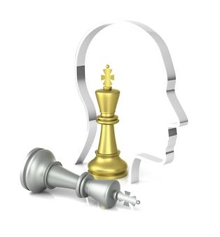 Игра в шахматы подходит к концу. королю поставлен мат. трехмерный рендеринг