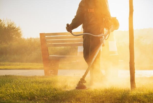 Садовник подстригает газон газонокосилкой рано утром на рассвете.