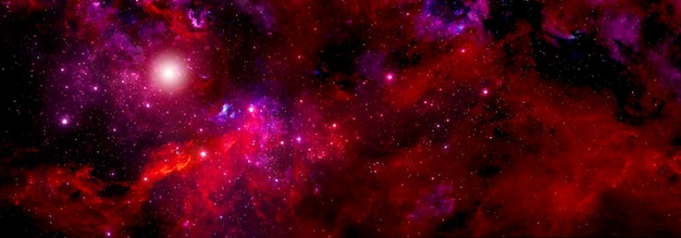 深宇宙の赤い星雲のガス雲と明るい星の大きなクラスター