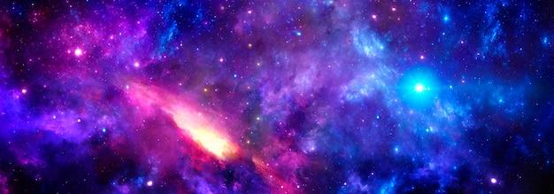 밝은 별 무리가 있는 깊은 우주의 거대한 발광 성운