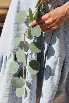 파란 드레스를 입은 소녀가 손에 녹색 유칼립투스 가지를 들고 있습니다. 살아있는 잎