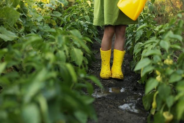 녹색 드레스와 노란색 부츠를 신은 소녀가 노란색 물뿌리개로 정원에 물을 주고 있다