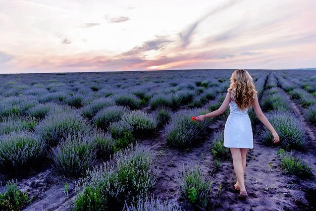 日没時のラベンダーフィールドの白いドレスの女の子。後ろからの広い風景写真、キプロス島