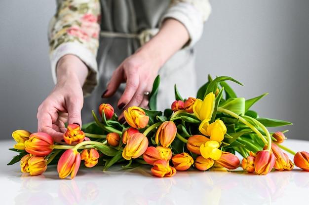 여자는 노란색, 주황색, 빨간색 튤립 꽃다발을 만든다.