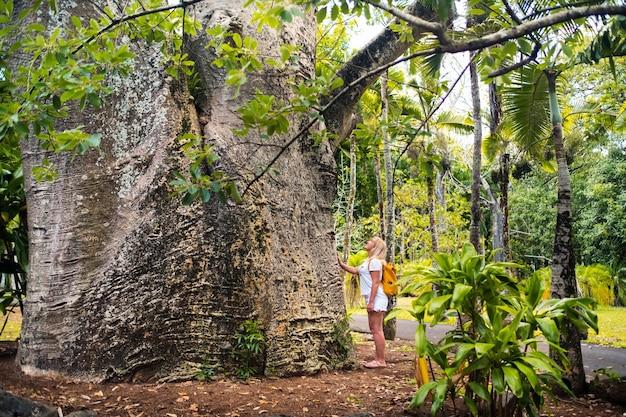 モーリシャス島の植物園のバオバブの隣の女の子