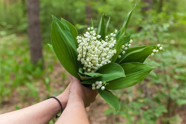 スズランの花、スズランの色から花束を選ぶ女の子