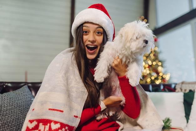 Девушка с маленькой собачкой на руках сидит на диване в канун нового года.